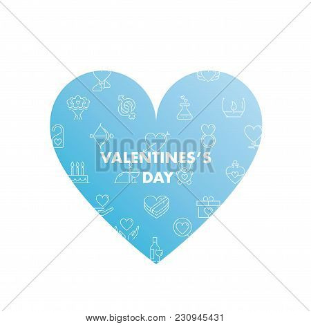 Line Icons In Shape. Valentines Day Pack. Vector Illustration For Romantic Holidays