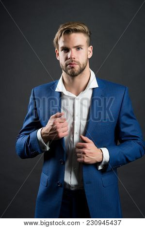 Man In Formal Suit Jacket, Shirt, Fashion. Businessman With Unshaven Face, Hair, Haircut. Fashion, S