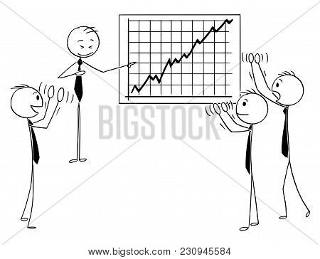 Cartoon Stick Man Drawing Conceptual Illustration Of Group Of Business People Applauding To Speaker