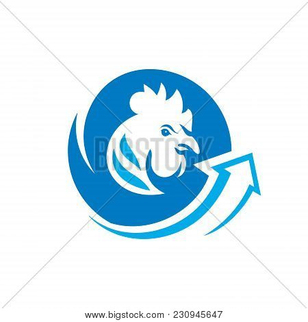 Rooster Head Symbol Isolated On White Background