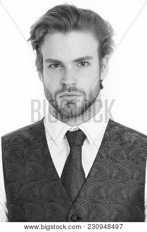 Businessman, Bearded Man Or Serious Gentleman In Waistcoat And Tie Isolated On White Background, Bus