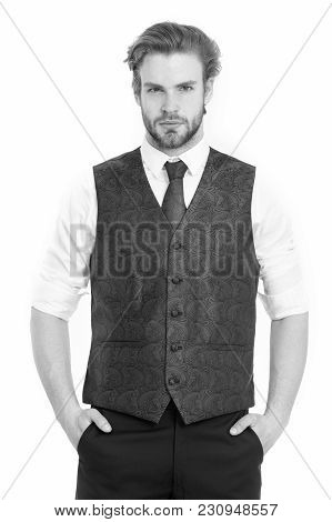 An Elegant Bearded Business Man In Waistcoat Isolated On White Background