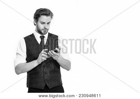 Businessman With Phone Isolated On White Background. Guy Presenting Product Of Smartphone. Buy Onlin