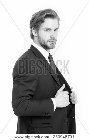 Man In Formal Outfit Isolated On White. Businessman Or Ceo In Black Jacket. Manager With Beard On Se