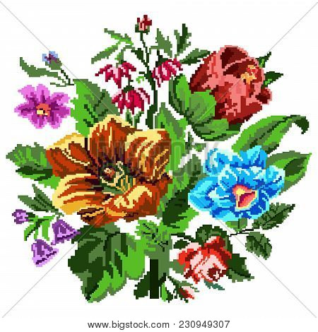 Color Bouquet Of Wildflowers (lilia, Bellflower, Barberry Flower And Cornflowers)  Using Traditional