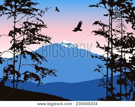Panorama Of Mountains. Silhouette Of Mountains With Snow And Deciduous Trees. Pink And Blue Tones. C