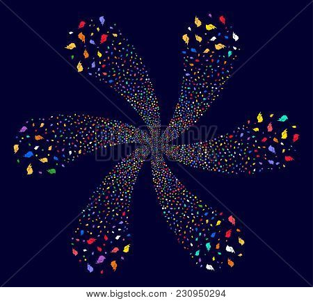 Multicolored Person Stress Strike Cycle Twist On A Dark Background. Psychedelic Cluster Organized Fr