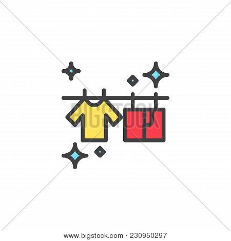 T-shirts Hanging On A Clothesline Filled Outline Icon, Line Vector Sign, Linear Colorful Pictogram I