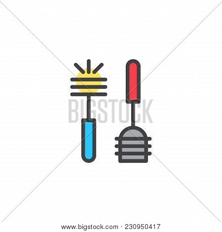 Plunger And Toilet Brush Filled Outline Icon, Line Vector Sign, Linear Colorful Pictogram Isolated O