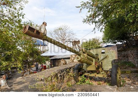 Old Artillery Piece Of The Red Khmer On Cambodia