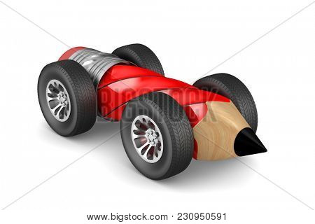 pencil with wheels on white background. Isolated 3D illustration