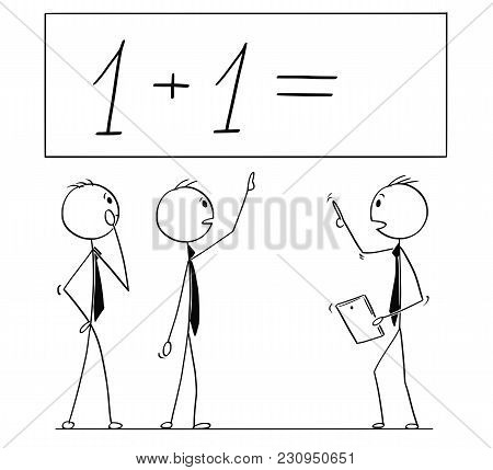 Cartoon Stick Man Drawing Conceptual Illustration Of Business Team Or People Working On One Plus One