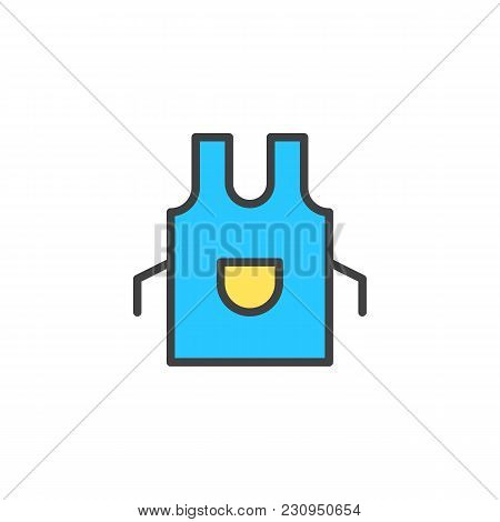 Apron Filled Outline Icon, Line Vector Sign, Linear Colorful Pictogram Isolated On White. Kitchen Pi