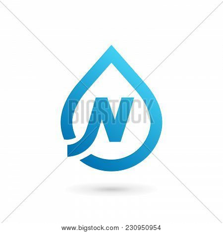 Letter N Water Drop Logo Icon Design Template Elements