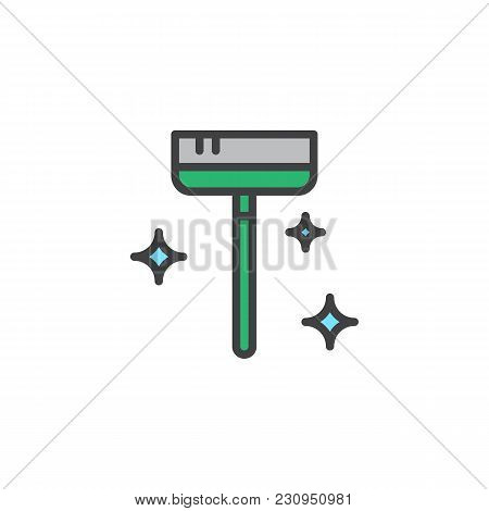 Clean Broom Filled Outline Icon, Line Vector Sign, Linear Colorful Pictogram Isolated On White. Maid