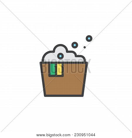 Laundry Washbowl With Foam Filled Outline Icon, Line Vector Sign, Linear Colorful Pictogram Isolated
