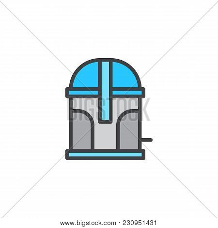 Trash Container Filled Outline Icon, Line Vector Sign, Linear Colorful Pictogram Isolated On White.