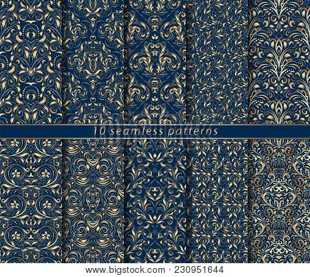 Collection Of Seamless Gold Patterns On Blue Background. Rich Ornamentation In The Baroque Style. Te