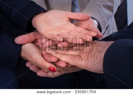 Bussines People Joining Hands. Teamwork Join Hands Support Together Concept.