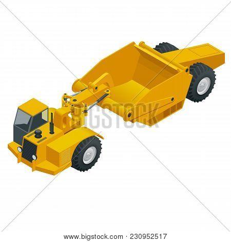 Isometric Wheel Tractor-scraper. Wheel Tractor-scraper, Heavy Equipment Used For Earthmoving. Scrape