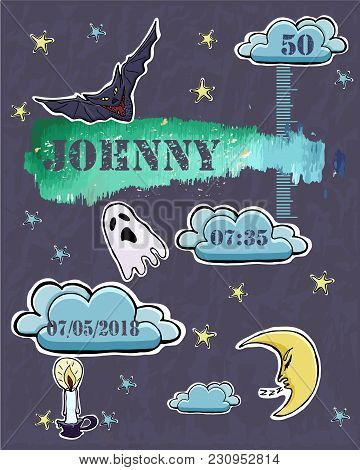Baby Shower Card. Baby  Newborn Metric For Boy. Crescent, Stars, Bat, Ghost, Candle,  Clouds. Gothic