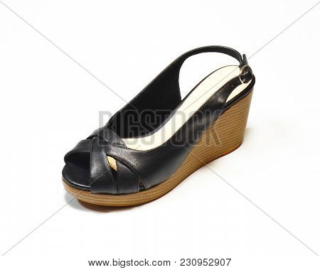 Luxury Woman Black High-heel Shoes, Slingback Shoes, Chunky Heel Shoes, Isolated On White Background