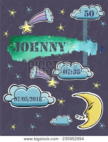 Baby Shower Card. Baby  Newborn Metric For Boy. Crescent, Stars, Comets, Clouds. Sticker. Watercolor