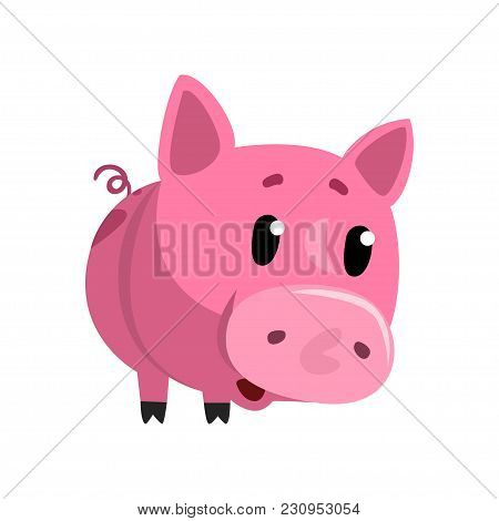 Sad Pink Cartoon Baby Piglet, Cute Funny Little Piggy Character Vector Illustration Isolated On A Wh