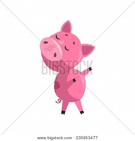 Pink Funny Skeptical Cartoon Baby Piglet, Cute Little Piggy Character Vector Illustration Isolated O