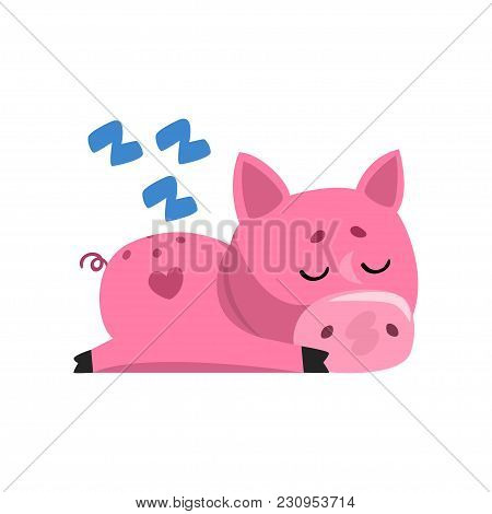 Pink Funny Cartoon Pig Sleeping, Cute Little Piggy Character Vector Illustration Isolated On A White
