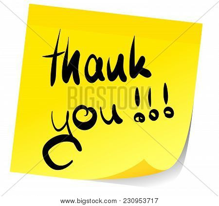 Words Thank You Written On Yellow Sticky Note
