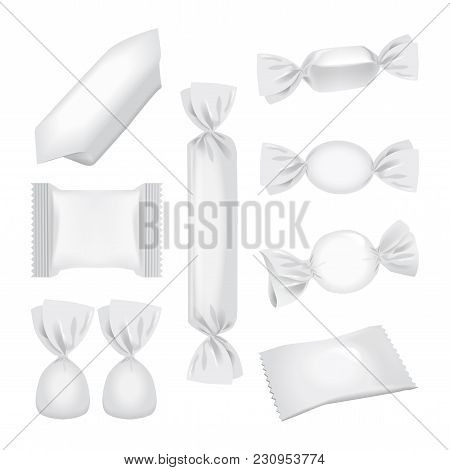 Foil Pack For Candies And Other Products, Realistic Food Snack Pack. Vector Mock Up For Your Design