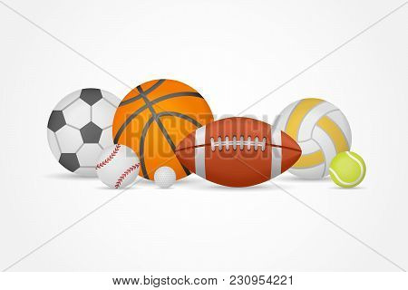 Set Of Different Sports Balls In A Heap Isolated On White Background. Equipment For Football, Basket
