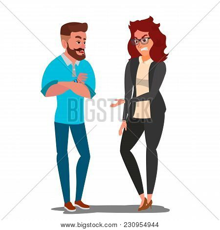 Quarrel Couple Vector. Office Workers Characters. Quarreling People. Angry Man And Woman. Parents Di