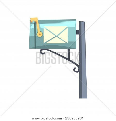 Blue Cartoon Style Mailbox On Gray Pole. Colorful Icon Of Metallic Post Box For Letters And Newspape