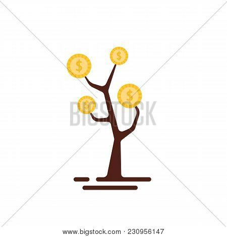 Simple Money Tree Logo Isolated On White. Concept Of Revenue Growth In Personal Economy And Startup
