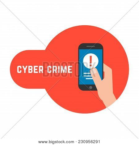 Yber Crime With Locked Phone In Hand. Flat Style Trend Modern Logo Graphic Design Isolated On White