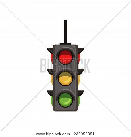 Three-dimensional Semaphore With Vertical Arrangement Of Signals. Traffic Light With Red, Yellow And