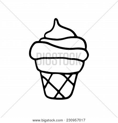 Sweet Cartoon Hand Drawn Ice Cream. Cute Vector Black And White Doodle Ice Cream. Isolated Monochrom