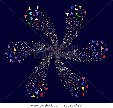 Attractive Christian Church Rotation Motion On A Dark Background. Psychedelic Cycle Organized From S