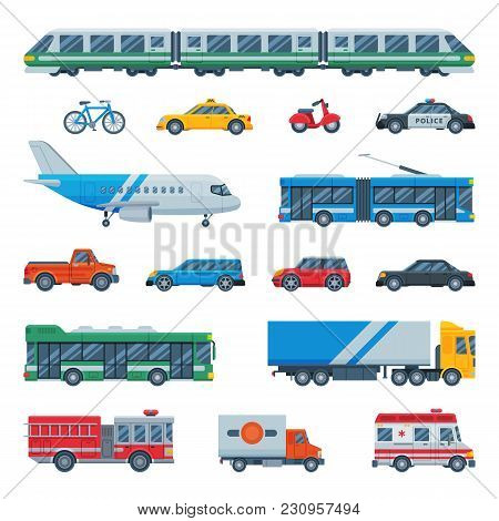 Transport Vector Public Transportable Bus Plane Or Train And Vehicle Or Bicycle For Transportation I