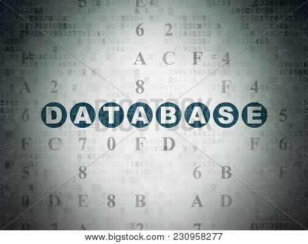 Programming Concept: Painted Blue Text Database On Digital Data Paper Background With Hexadecimal Co