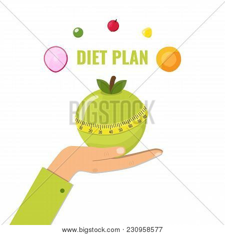 Healthy Diet Concept. Green Apple With Measuring Tape On Female Hand. Vector Illustration.