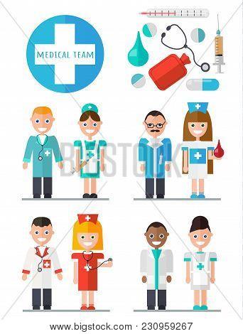 Medical Team. Medical Instruments Set. Flat Vector Illustration