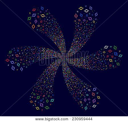 Multicolored Node Link Explosion Flower With Six Petals On A Dark Background. Hypnotic Centrifugal E