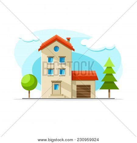 Flat Vector Cottage Building Colorful Illustration. City House, Apartment, Residential Object On Iso