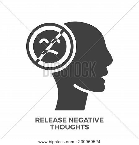 Release Negative Thoughts Glyph Vector Icon Isolated On The White Background.