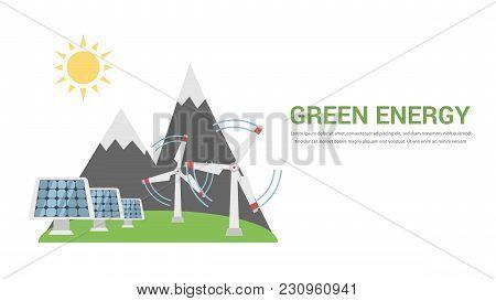 Green Energy, Renewable, Ecology, Solar, Wind Power, Think Green Flat Design Vector Concept Illustra