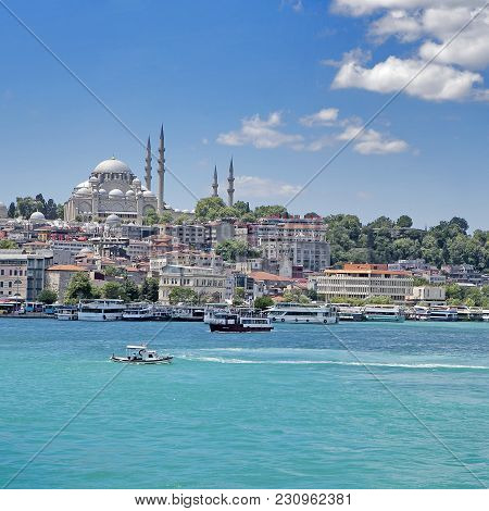 Istanbul Turkey 05 July 2017 A View Of The Golden Horn From Galata Bridge, Istanbul, Turkey