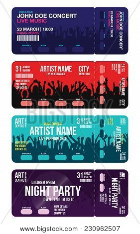 Set Of Concert Ticket Templates. Concert, Party Or Festival Ticket Design Template With People Crowd